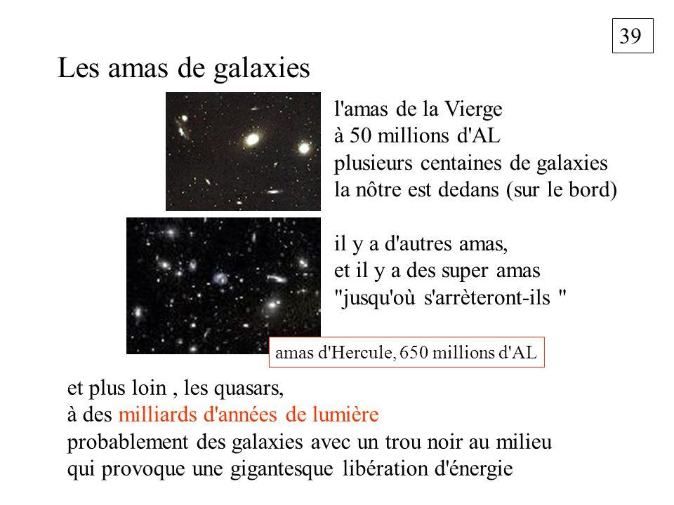 39 Les amas de galaxies et plus loin, les quasars, à des milliards d'années de lumière probablement des galaxies avec un trou noir au milieu qui provo