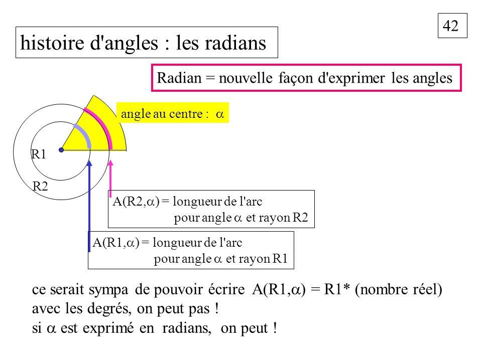 42 histoire d'angles : les radians ce serait sympa de pouvoir écrire A(R1, ) = R1* (nombre réel) avec les degrés, on peut pas ! si est exprimé en radi