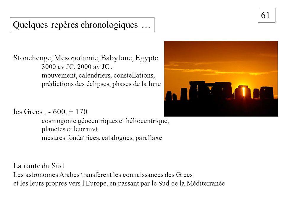 61 Quelques repères chronologiques … Stonehenge, Mésopotamie, Babylone, Egypte 3000 av JC, 2000 av JC, mouvement, calendriers, constellations, prédict