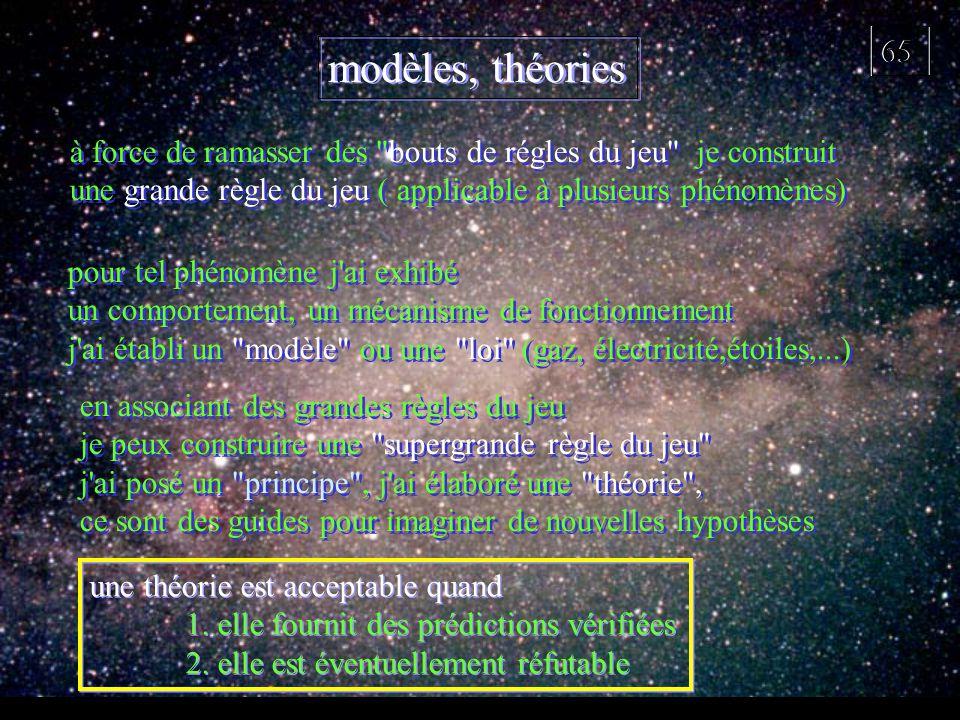 65 modèles, théories une théorie est acceptable quand 1. elle fournit des prédictions vérifiées 2. elle est éventuellement réfutable une théorie est a