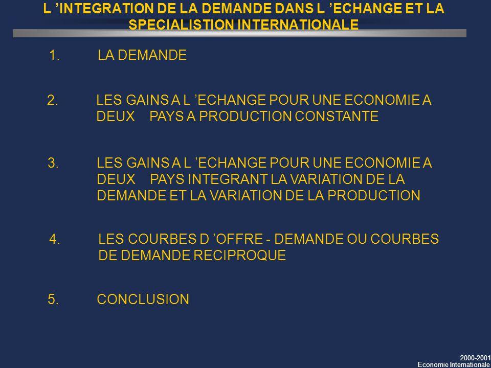 2000-2001 Economie Internationale L INTEGRATION DE LA DEMANDE DANS L ECHANGE ET LA SPECIALISTION INTERNATIONALE 1.LA DEMANDE 2.LES GAINS A L ECHANGE P