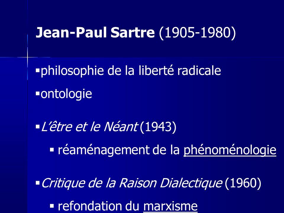 philosophie de la liberté radicale ontologie Lêtre et le Néant (1943) réaménagement de la phénoménologie Critique de la Raison Dialectique (1960) refo
