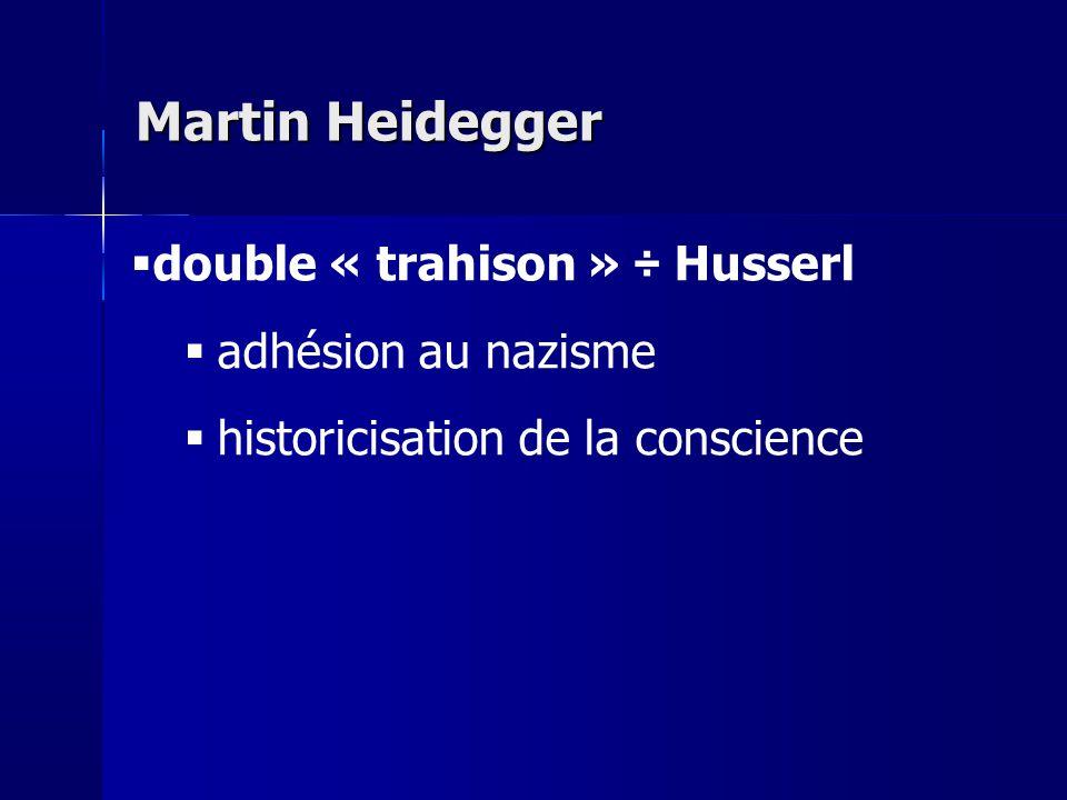 double « trahison » ÷ Husserl adhésion au nazisme historicisation de la conscience Martin Heidegger