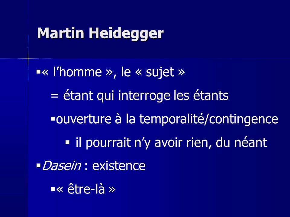 « lhomme », le « sujet » = étant qui interroge les étants ouverture à la temporalité/contingence il pourrait ny avoir rien, du néant Dasein : existenc