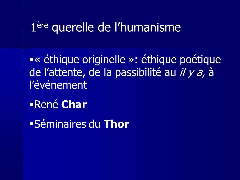 « éthique originelle »: éthique poétique de lattente, de la passibilité au il y a, à lévénement René Char Séminaires du Thor 1 ère querelle de lhumani