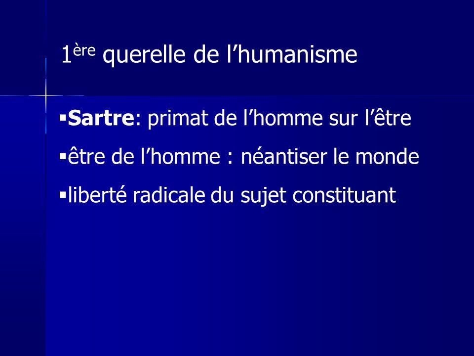 Sartre: primat de lhomme sur lêtre être de lhomme : néantiser le monde liberté radicale du sujet constituant 1 ère querelle de lhumanisme