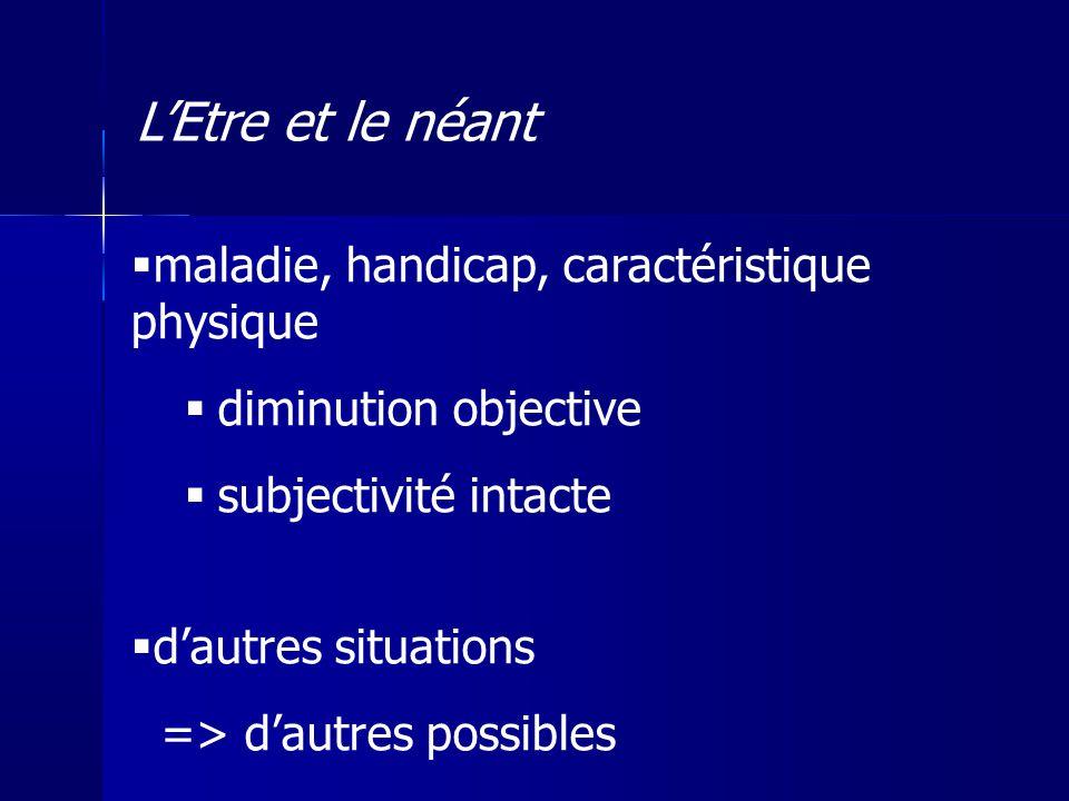 maladie, handicap, caractéristique physique diminution objective subjectivité intacte dautres situations => dautres possibles LEtre et le néant
