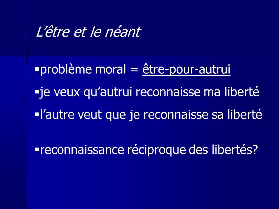 problème moral = être-pour-autrui je veux quautrui reconnaisse ma liberté lautre veut que je reconnaisse sa liberté reconnaissance réciproque des libe