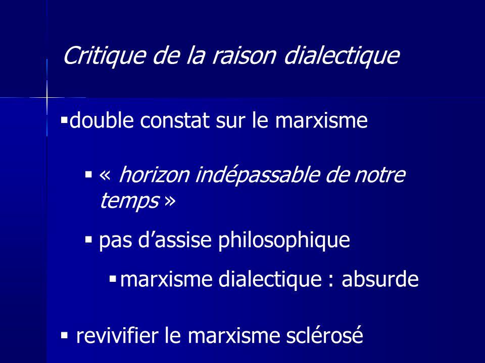 double constat sur le marxisme « horizon indépassable de notre temps » pas dassise philosophique marxisme dialectique : absurde revivifier le marxisme