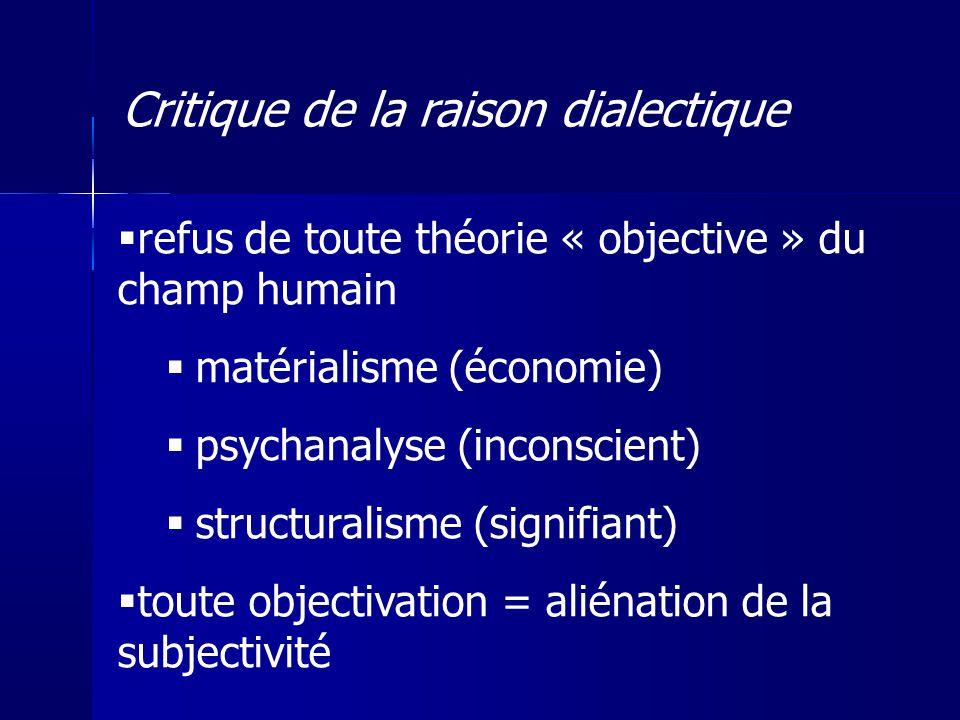 refus de toute théorie « objective » du champ humain matérialisme (économie) psychanalyse (inconscient) structuralisme (signifiant) toute objectivatio