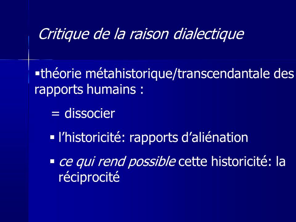 théorie métahistorique/transcendantale des rapports humains : = dissocier lhistoricité: rapports daliénation ce qui rend possible cette historicité: l