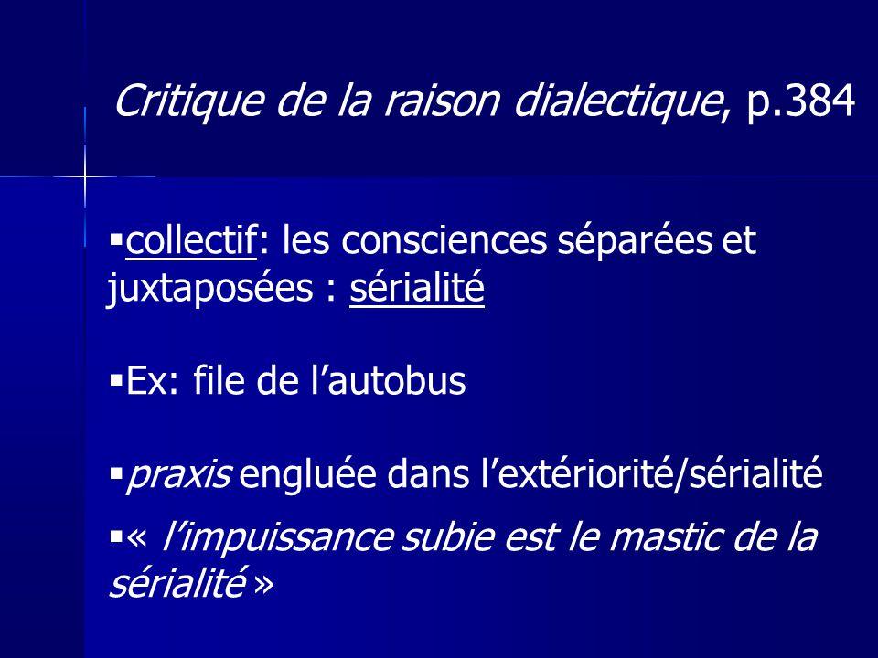 collectif: les consciences séparées et juxtaposées : sérialité Ex: file de lautobus praxis engluée dans lextériorité/sérialité « limpuissance subie es