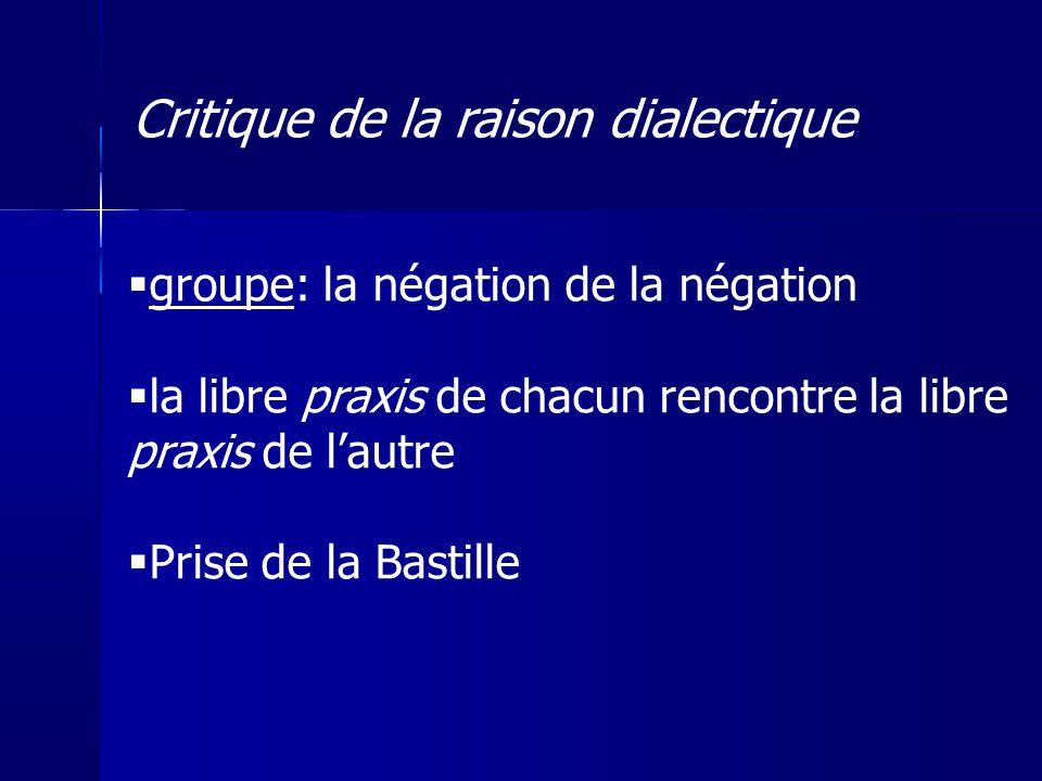 groupe: la négation de la négation la libre praxis de chacun rencontre la libre praxis de lautre Prise de la Bastille Critique de la raison dialectiqu