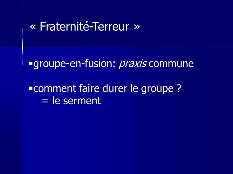 groupe-en-fusion: praxis commune comment faire durer le groupe ? = le serment « Fraternité-Terreur »