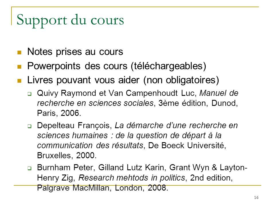 16 Support du cours Notes prises au cours Powerpoints des cours (téléchargeables) Livres pouvant vous aider (non obligatoires) Quivy Raymond et Van Campenhoudt Luc, Manuel de recherche en sciences sociales, 3ème édition, Dunod, Paris, 2006.