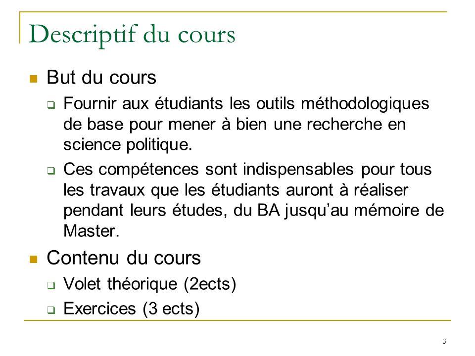 Descriptif du cours But du cours Fournir aux étudiants les outils méthodologiques de base pour mener à bien une recherche en science politique.
