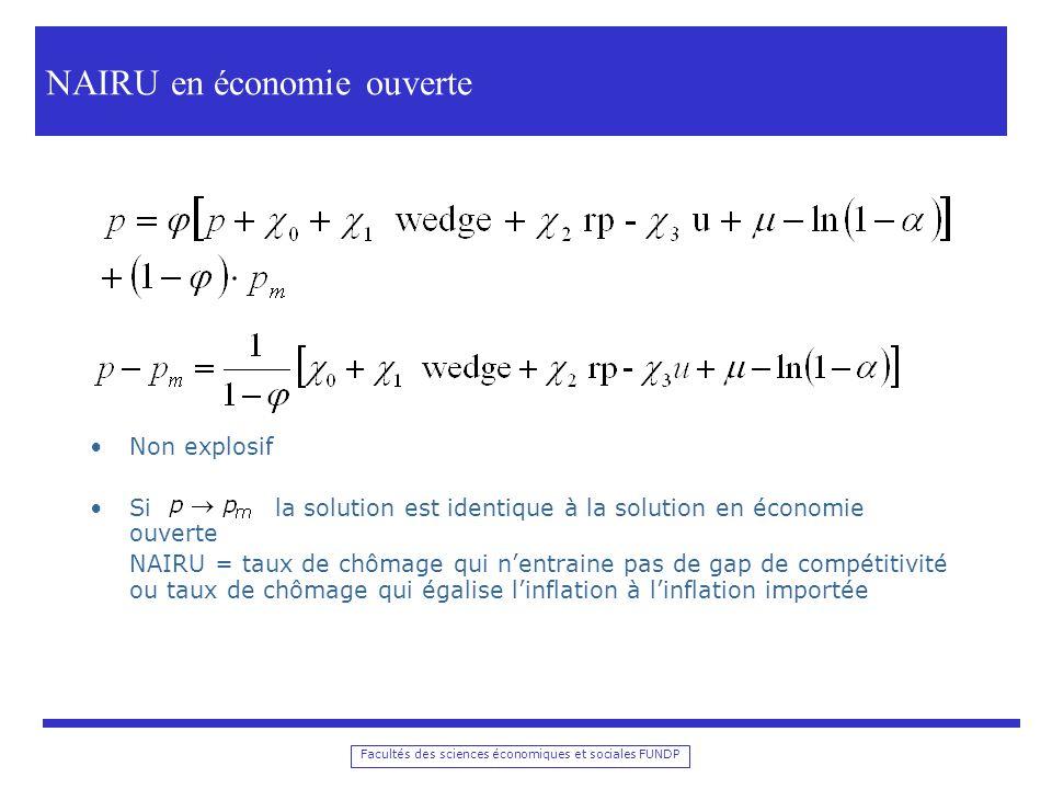 Facultés des sciences économiques et sociales FUNDP Transmission des chocs Schéma simplifié Taxonomie des chocs
