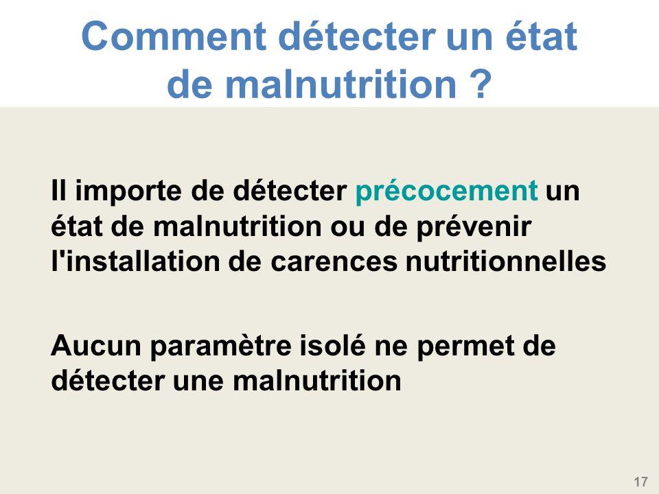 17 Comment détecter un état de malnutrition .