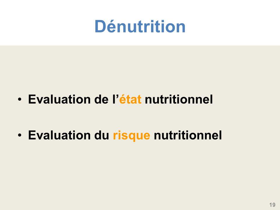 19 Dénutrition Evaluation de létat nutritionnel Evaluation du risque nutritionnel
