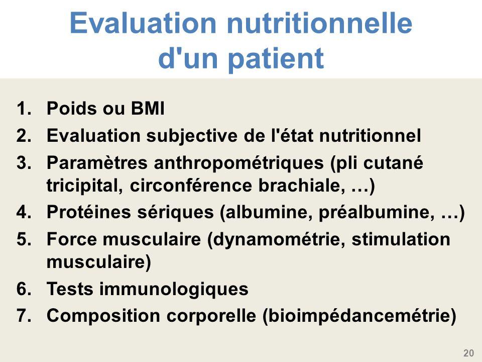 20 Evaluation nutritionnelle d un patient 1.Poids ou BMI 2.Evaluation subjective de l état nutritionnel 3.Paramètres anthropométriques (pli cutané tricipital, circonférence brachiale, …) 4.Protéines sériques (albumine, préalbumine, …) 5.Force musculaire (dynamométrie, stimulation musculaire) 6.Tests immunologiques 7.Composition corporelle (bioimpédancemétrie)