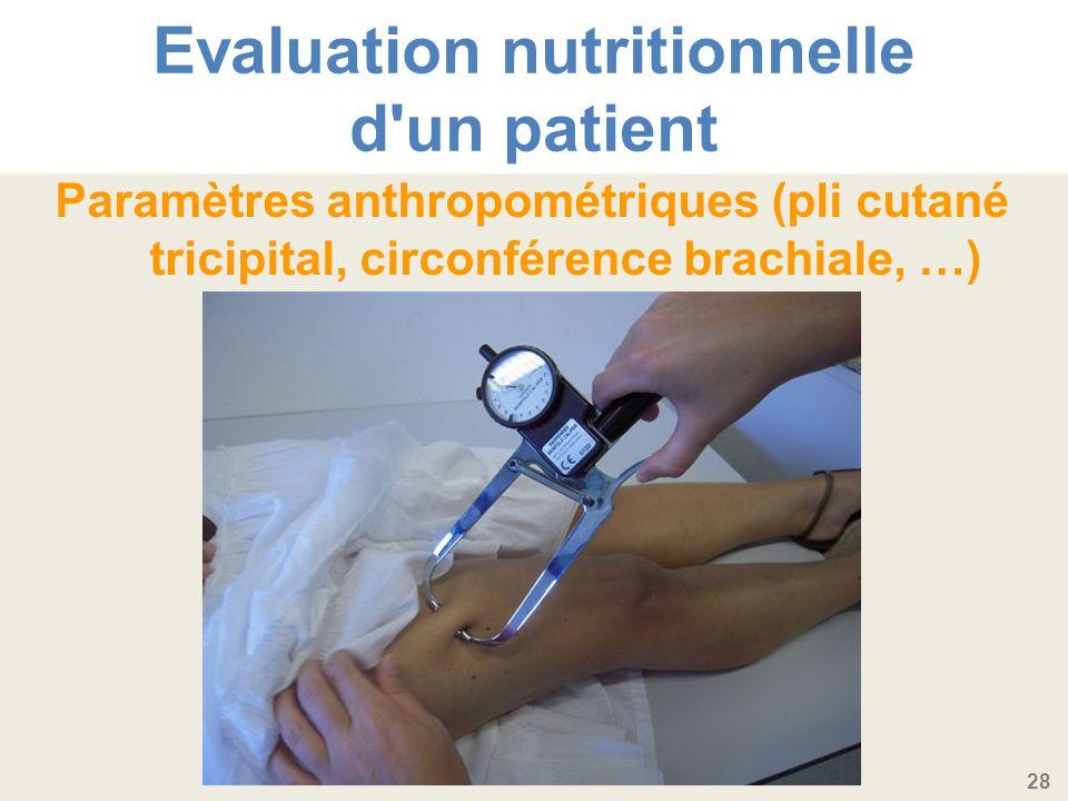 28 Evaluation nutritionnelle d un patient Paramètres anthropométriques (pli cutané tricipital, circonférence brachiale, …)