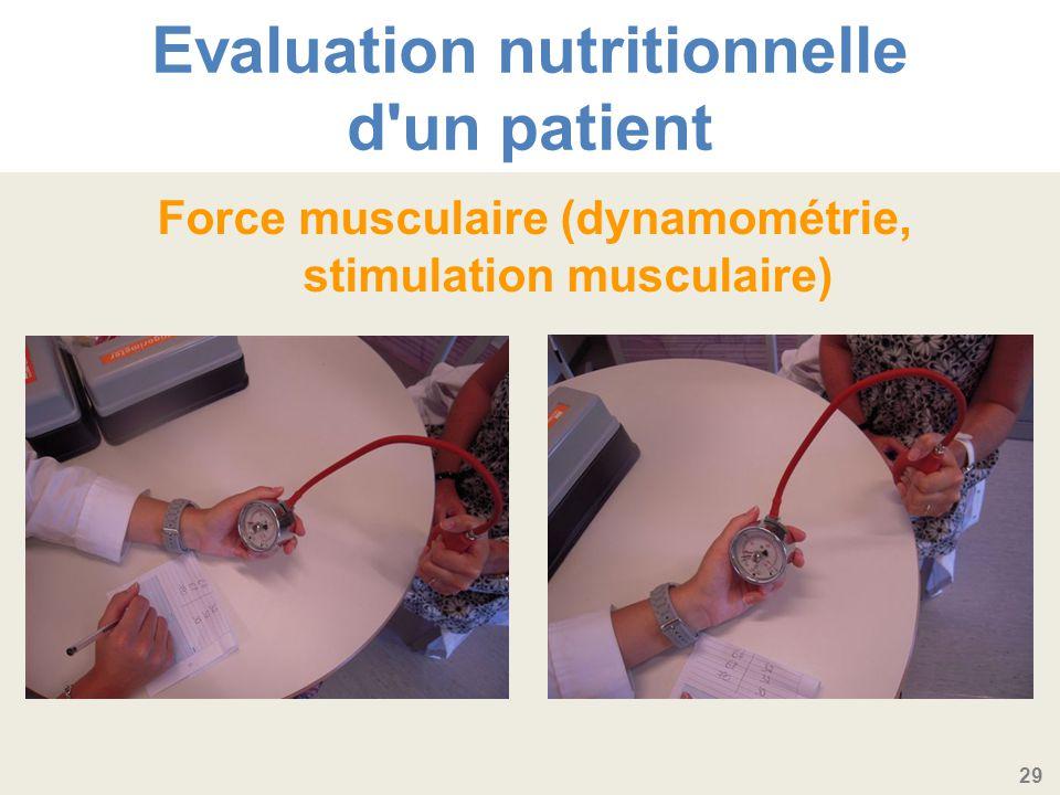 29 Evaluation nutritionnelle d un patient Force musculaire (dynamométrie, stimulation musculaire)