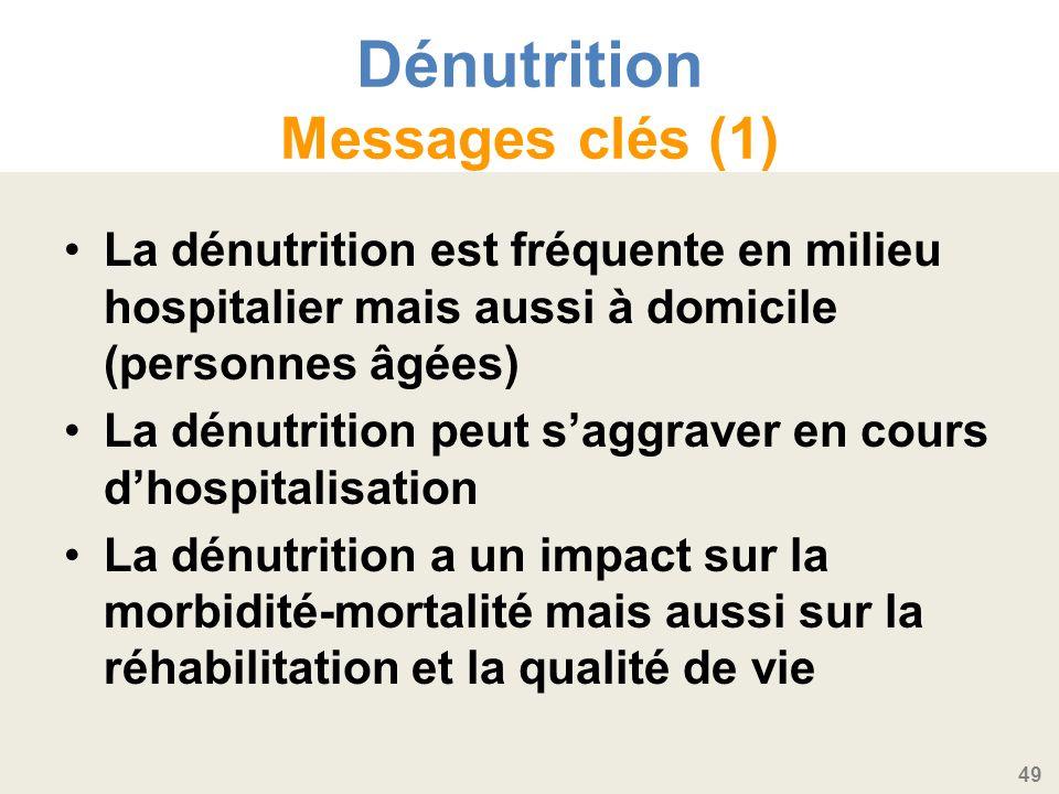 49 Dénutrition Messages clés (1) La dénutrition est fréquente en milieu hospitalier mais aussi à domicile (personnes âgées) La dénutrition peut saggraver en cours dhospitalisation La dénutrition a un impact sur la morbidité-mortalité mais aussi sur la réhabilitation et la qualité de vie