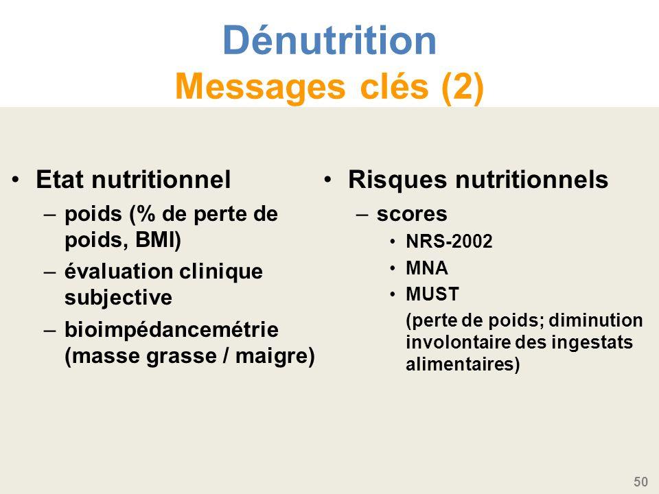 50 Dénutrition Messages clés (2) Etat nutritionnel –poids (% de perte de poids, BMI) –évaluation clinique subjective –bioimpédancemétrie (masse grasse / maigre) Risques nutritionnels – scores NRS-2002 MNA MUST (perte de poids; diminution involontaire des ingestats alimentaires)
