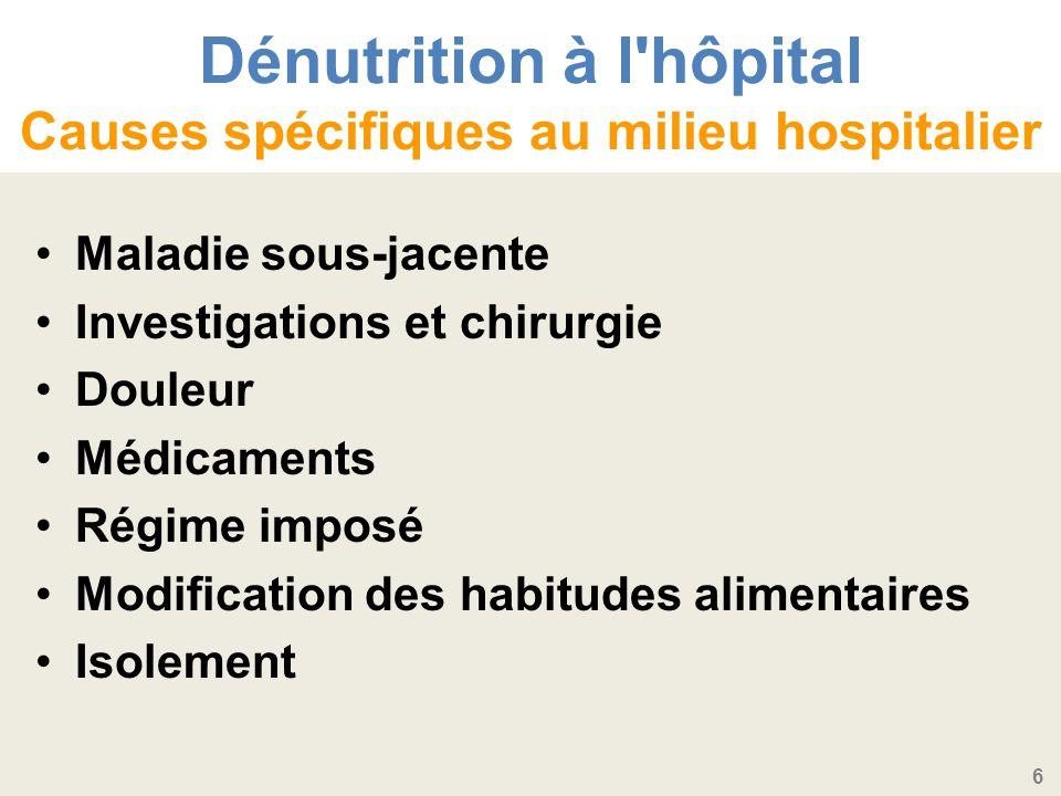 6 Dénutrition à l hôpital Causes spécifiques au milieu hospitalier Maladie sous-jacente Investigations et chirurgie Douleur Médicaments Régime imposé Modification des habitudes alimentaires Isolement
