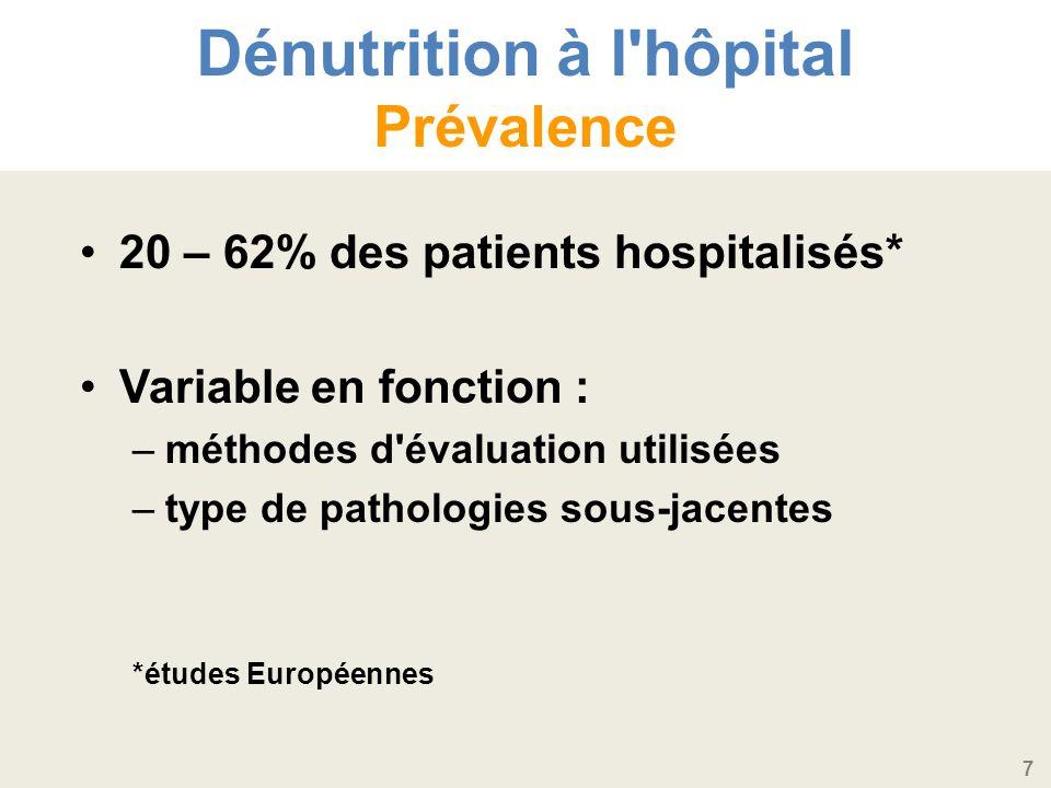 7 Dénutrition à l hôpital Prévalence 20 – 62% des patients hospitalisés* Variable en fonction : –méthodes d évaluation utilisées –type de pathologies sous-jacentes *études Européennes