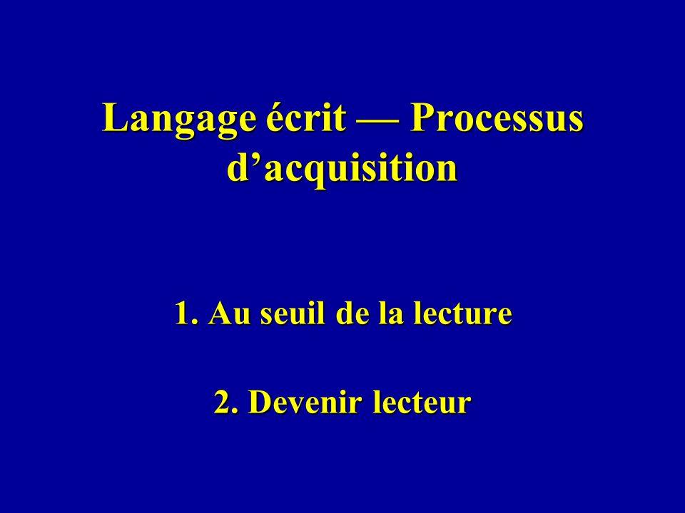 Langage écrit Processus dacquisition 1. Au seuil de la lecture 2. Devenir lecteur