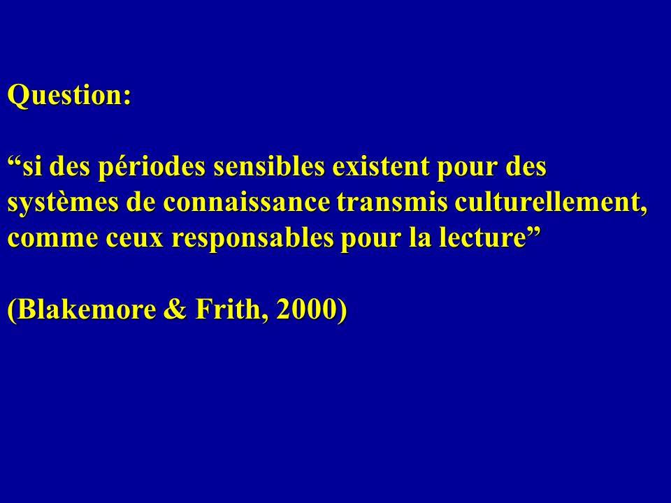 Question: si des périodes sensibles existent pour des systèmes de connaissance transmis culturellement, comme ceux responsables pour la lecture (Blake