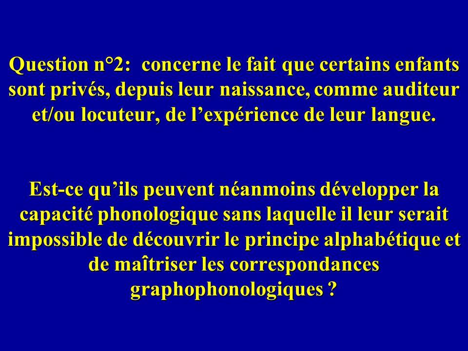 Question n°2: concerne le fait que certains enfants sont privés, depuis leur naissance, comme auditeur et/ou locuteur, de lexpérience de leur langue.