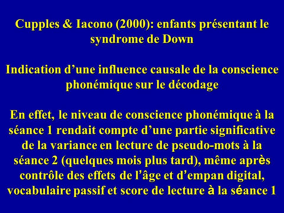 Cupples & Iacono (2000): enfants présentant le syndrome de Down Indication dune influence causale de la conscience phonémique sur le décodage En effet