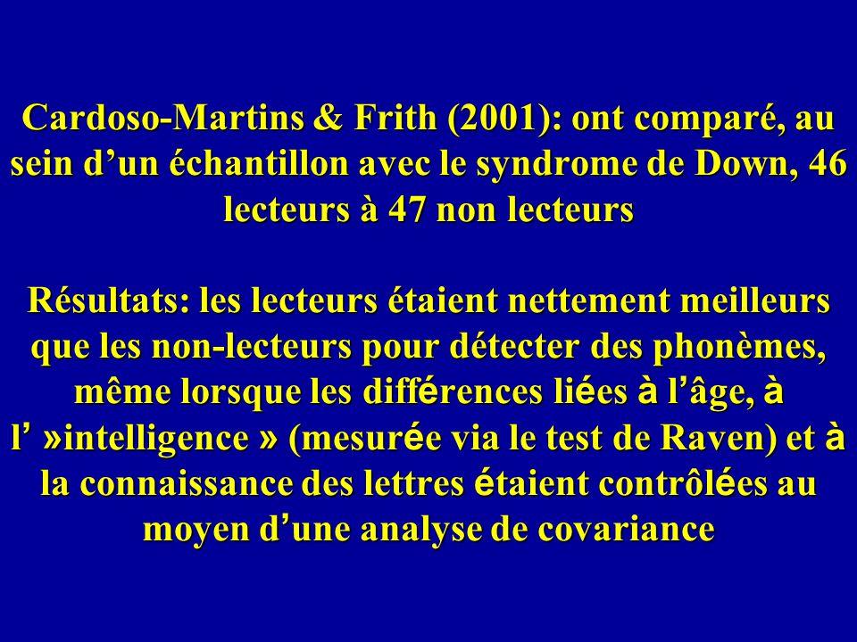 Cardoso-Martins & Frith (2001): ont comparé, au sein dun échantillon avec le syndrome de Down, 46 lecteurs à 47 non lecteurs Résultats: les lecteurs é