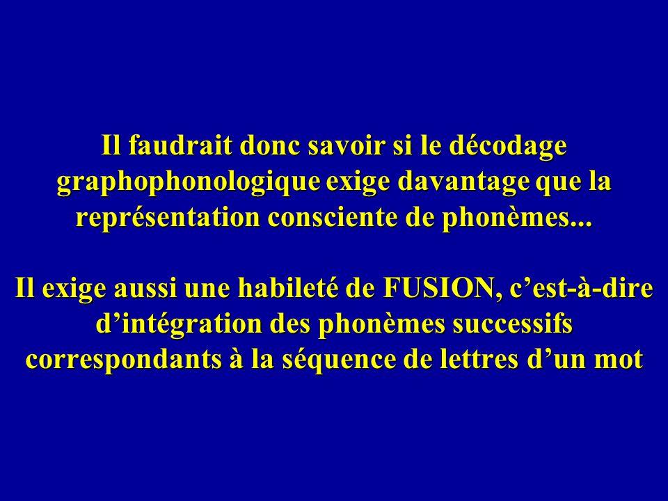 Il faudrait donc savoir si le décodage graphophonologique exige davantage que la représentation consciente de phonèmes... Il exige aussi une habileté