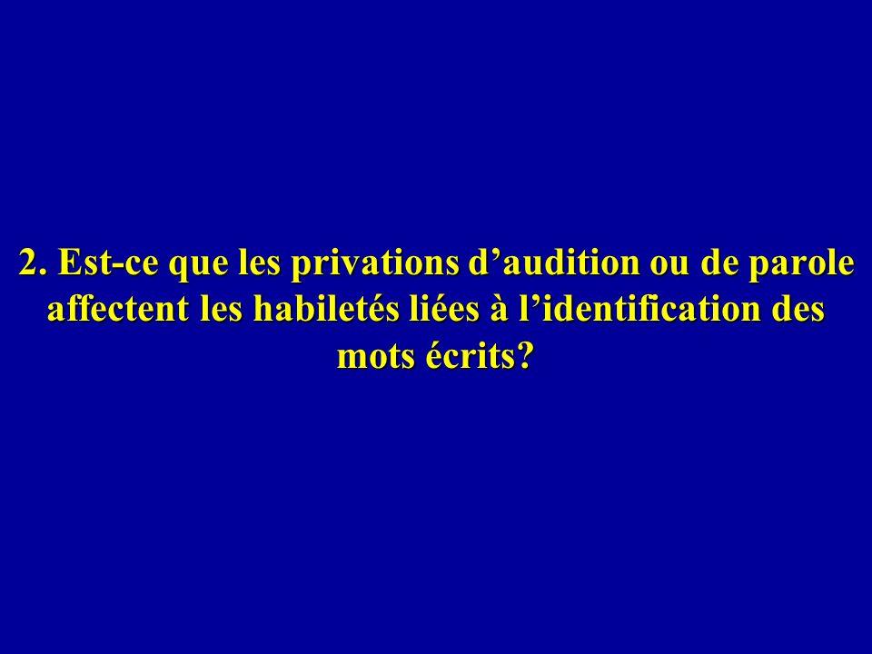 2. Est-ce que les privations daudition ou de parole affectent les habiletés liées à lidentification des mots écrits?
