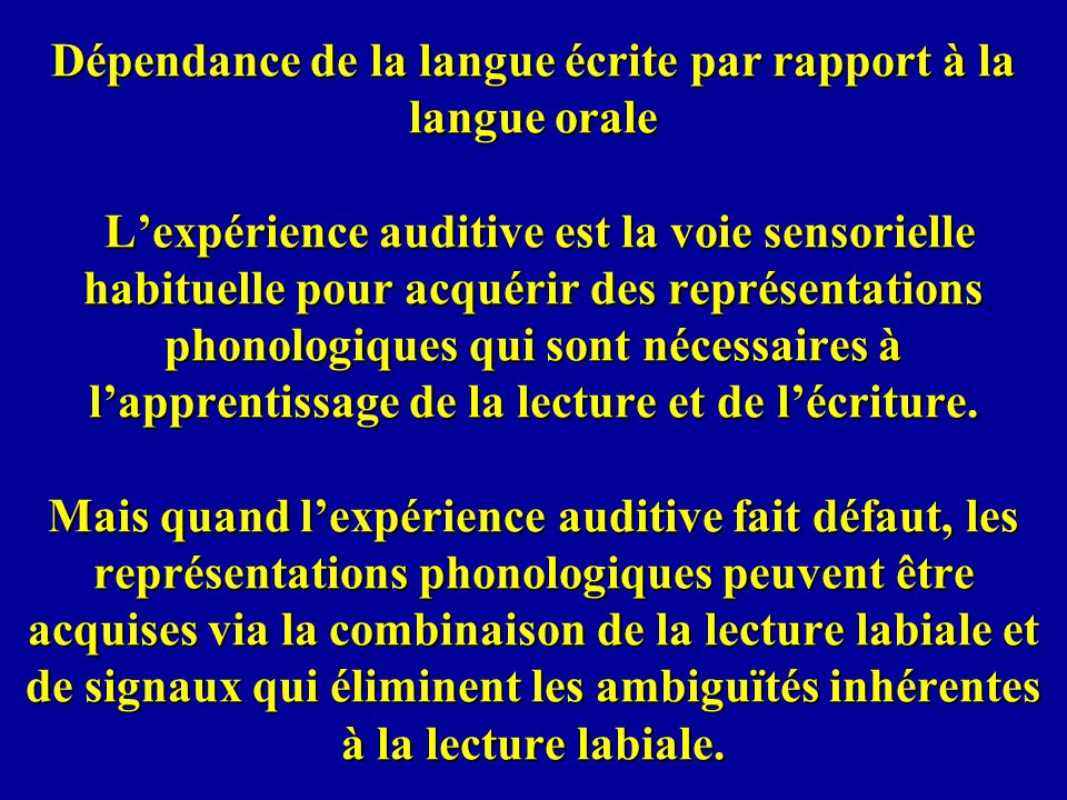 Dépendance de la langue écrite par rapport à la langue orale Lexpérience auditive est la voie sensorielle habituelle pour acquérir des représentations