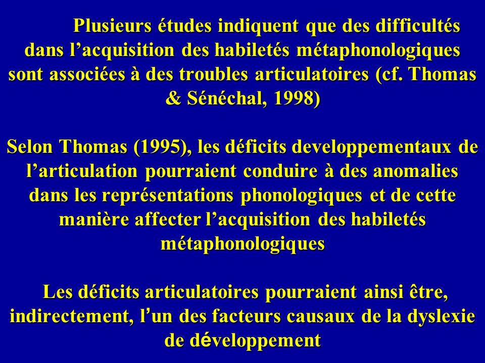 Plusieurs études indiquent que des difficultés dans lacquisition des habiletés métaphonologiques sont associées à des troubles articulatoires (cf. Tho