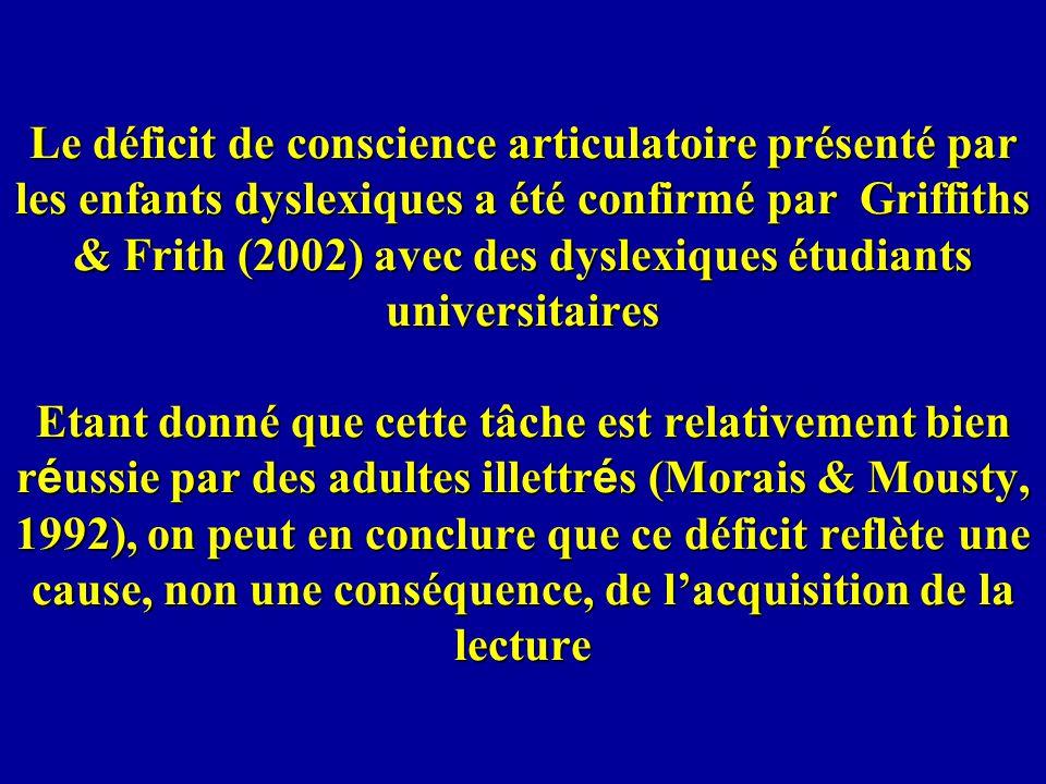 Le déficit de conscience articulatoire présenté par les enfants dyslexiques a été confirmé par Griffiths & Frith (2002) avec des dyslexiques étudiants