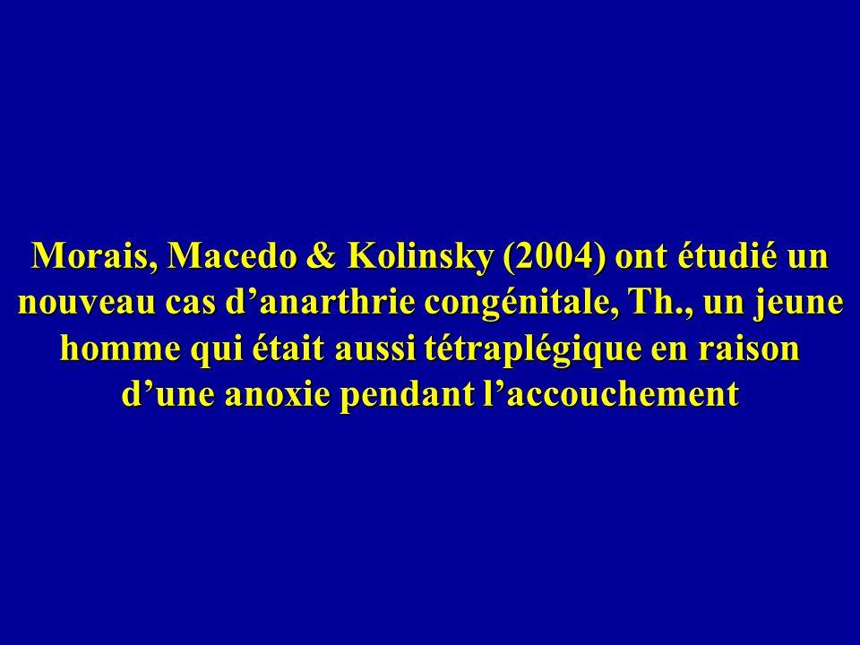 Morais, Macedo & Kolinsky (2004) ont étudié un nouveau cas danarthrie congénitale, Th., un jeune homme qui était aussi tétraplégique en raison dune an