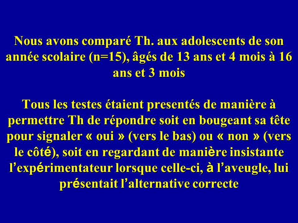 Nous avons comparé Th. aux adolescents de son année scolaire (n=15), âgés de 13 ans et 4 mois à 16 ans et 3 mois Tous les testes étaient presentés de