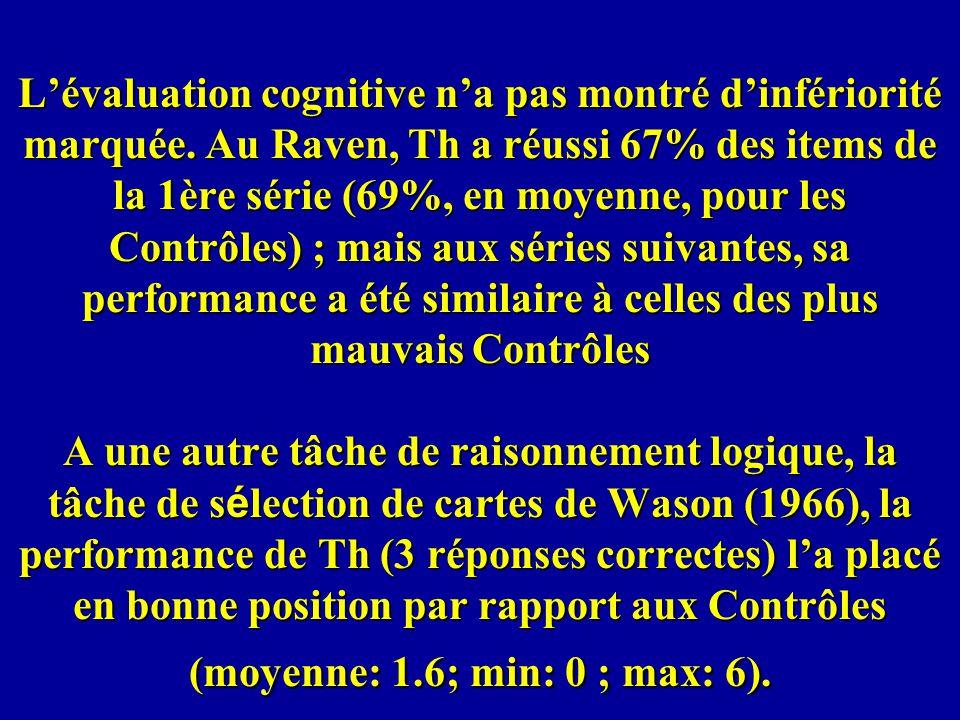 Lévaluation cognitive na pas montré dinfériorité marquée. Au Raven, Th a réussi 67% des items de la 1ère série (69%, en moyenne, pour les Contrôles) ;