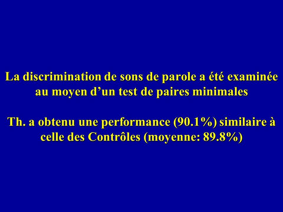 La discrimination de sons de parole a été examinée au moyen dun test de paires minimales Th. a obtenu une performance (90.1%) similaire à celle des Co