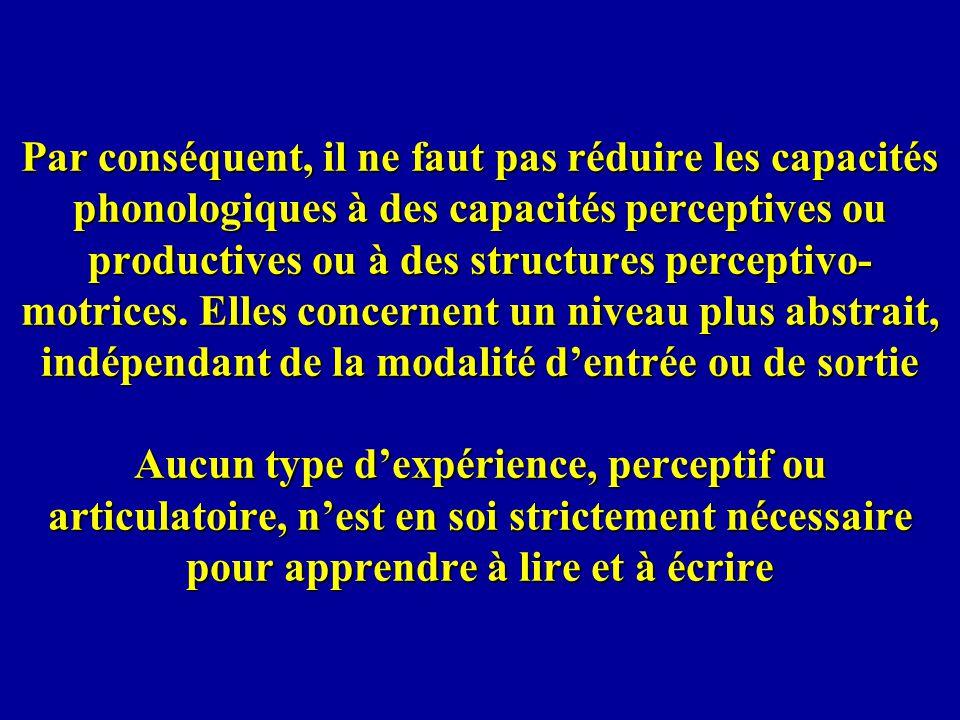 Par conséquent, il ne faut pas réduire les capacités phonologiques à des capacités perceptives ou productives ou à des structures perceptivo- motrices