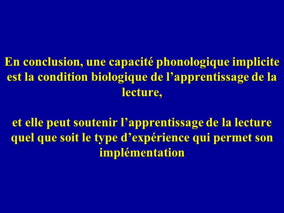 En conclusion, une capacité phonologique implicite est la condition biologique de lapprentissage de la lecture, et elle peut soutenir lapprentissage d