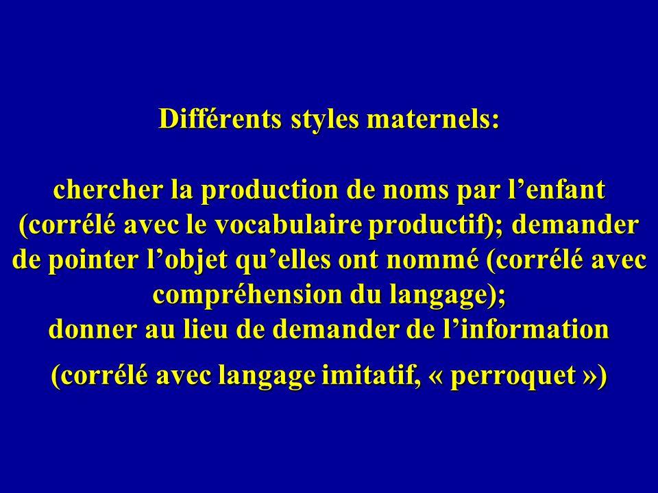 Différents styles maternels: chercher la production de noms par lenfant (corrélé avec le vocabulaire productif); demander de pointer lobjet quelles on