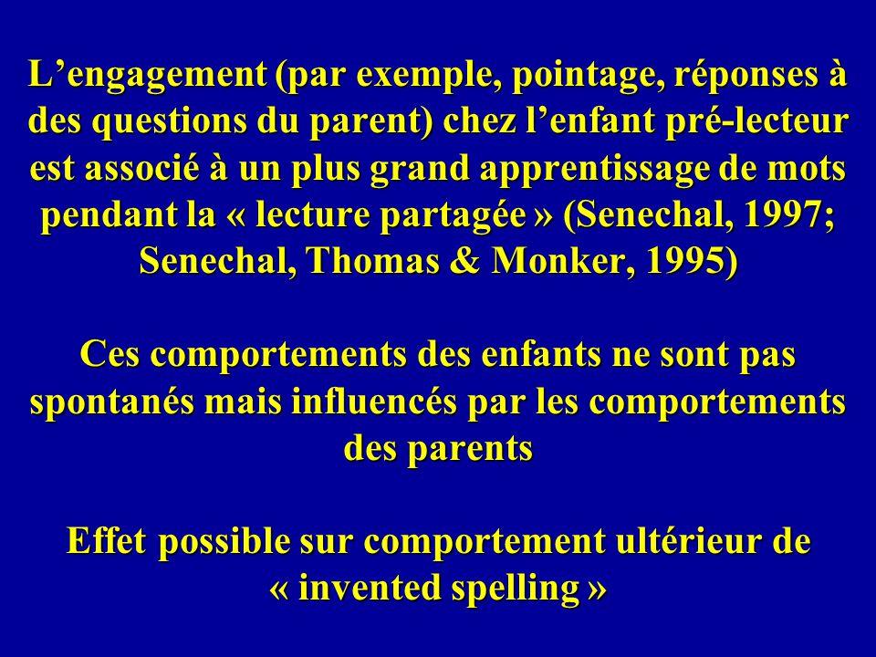 Lengagement (par exemple, pointage, réponses à des questions du parent) chez lenfant pré-lecteur est associé à un plus grand apprentissage de mots pen