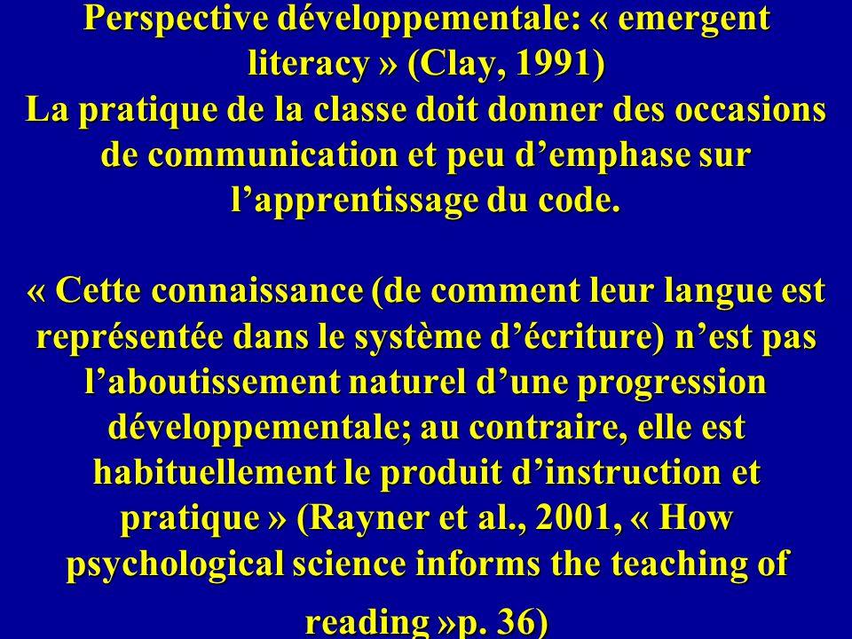 Perspective développementale: « emergent literacy » (Clay, 1991) La pratique de la classe doit donner des occasions de communication et peu demphase s