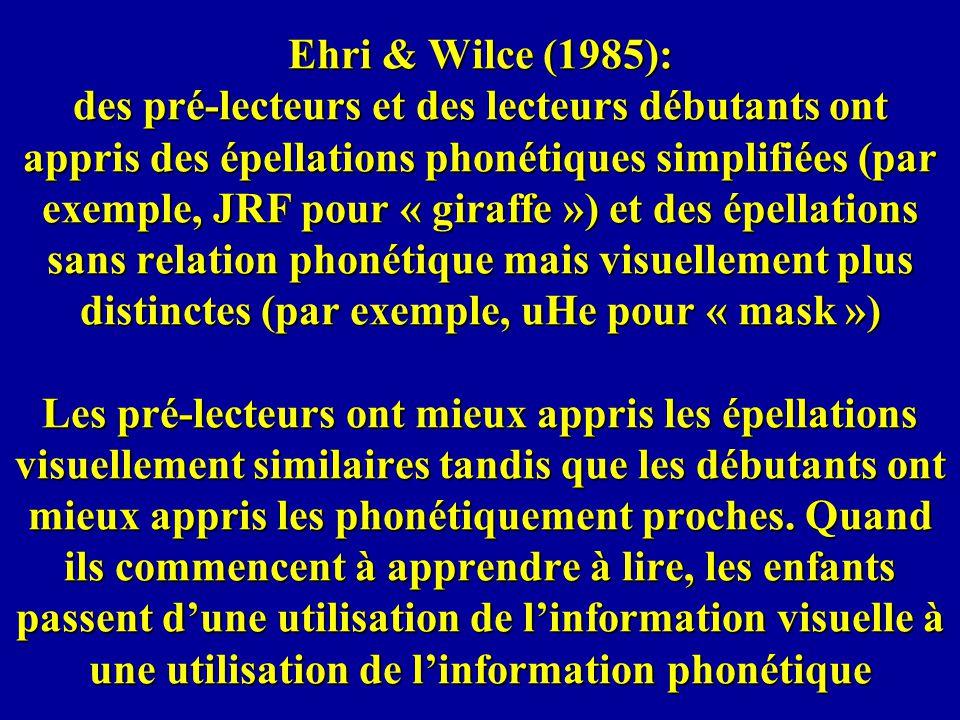 Ehri & Wilce (1985): des pré-lecteurs et des lecteurs débutants ont appris des épellations phonétiques simplifiées (par exemple, JRF pour « giraffe »)